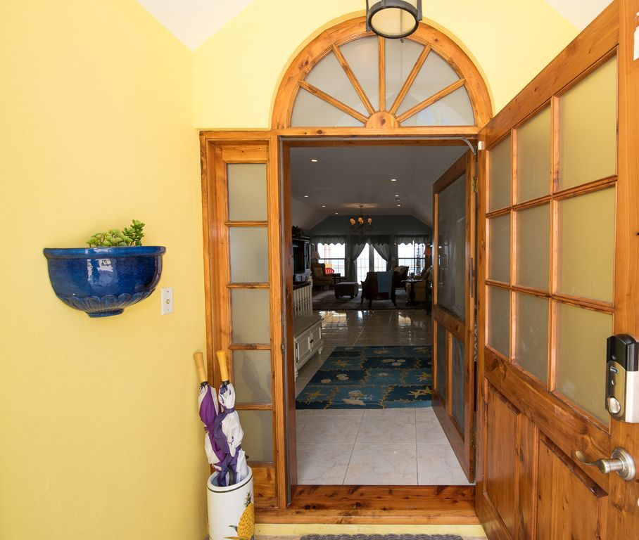 Wonderful cedar door welcomes you to you home away from home!