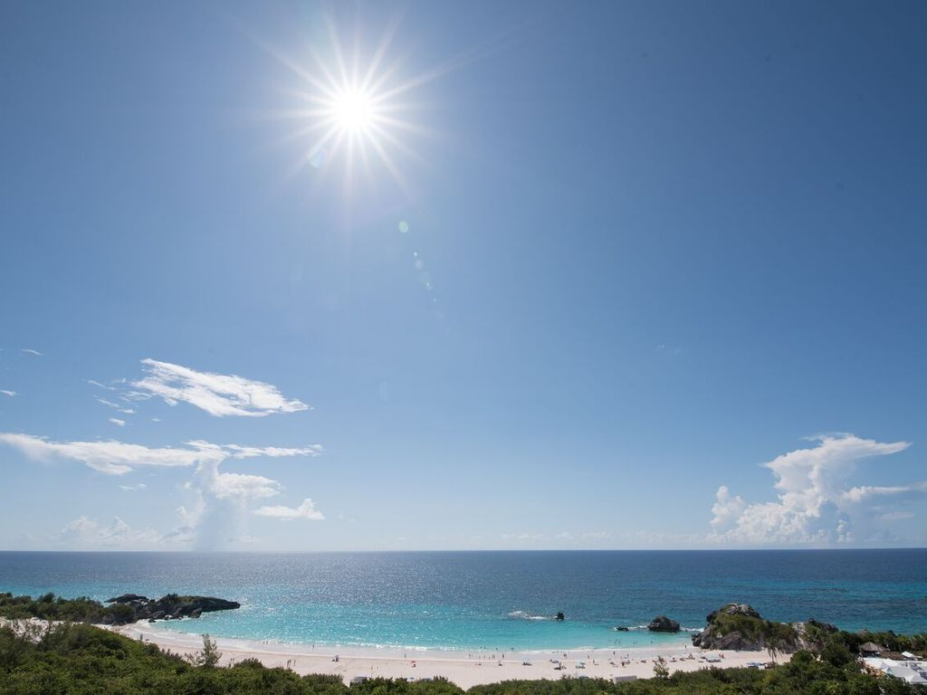 World-renowned Horseshoe Bay Beach is you view from the